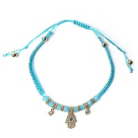 Turquoise Blue Evil Eye Hand Adjustable Cord Bracelet