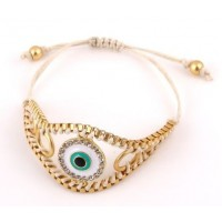 White Evil Eye Chain Cord Bracelet