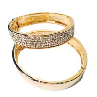 SPARKLING RHINESTONE CRYSTAL GOLD BANGLE BRACELET