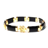 18k Gold Plated Chic Onyx Jade Bracelet