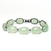Lustrous Silver Pale Green Oval Jade Bracelet