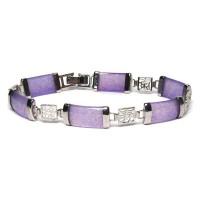 Silver Lavender Jade Panel Link Bracelet