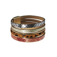 Shimmering Gold Brown Animal Print Cuff Bracelet