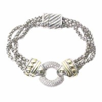 Glittering Silver Dot Round 3 Link Rope Bracelet