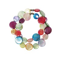 Multi Color Double Strands Of Mother Of Pearl Coin Disc Bracelet