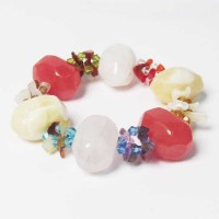 Multi Color Quartz Gem Stones Chips Stretchy Bracelet