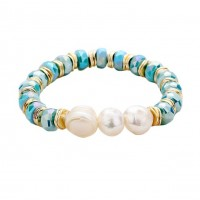 Lustrous Fresh Water Pearl Blue Multi Faceted Beaded Stretch Bracelet