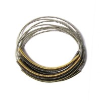 Tigerstars Handcrafted Multi-Strand 3 Tone Silver Piano Wire Bracelet