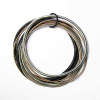 Stylish Handcrafted Multi Strand 4 Tone Silver Piano Wire Bracelet