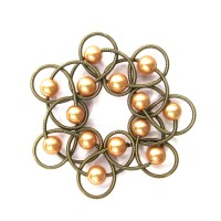 Gold Fresh Water Pearl Bronzy Piano Wire Netting Bracelet