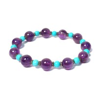 Amethyst And Turquoise Beaded Silver Bracelet