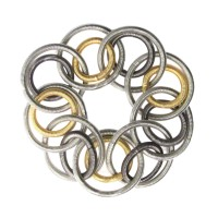 Handcrafted Tri Color Double Rings Piano Wire Bracelet