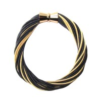 Handcrafted Gold Black Multi Strand Twist Piano Wire Bracelet