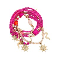 FUCHSIA SNAKE CHARM WRAP BRACELET AND NECKLACE
