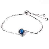 Stunning Blue Cz Silver Dangle Link Bracelet