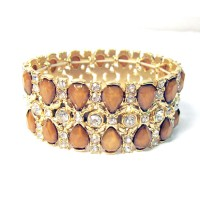 Bronzy & Clear Crystal Gold Stretchy Bracelet