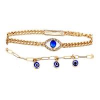 Dazzling Royal Blue Evil Eye Rhinestone Charm Bracelet