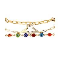 Dazzling 3 Strand Multi Color Evil Eye Rhinestone Star Charm Bracelet
