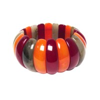 Handcrafted Chunky Multi Color Resin Stretchy Tribal Cuff Statement Bracelet
