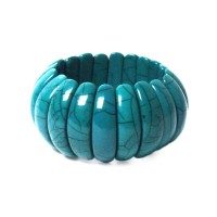 Handcrafted Chunky Blue Resin Stretchy Tribal Cuff Statement Bracelet