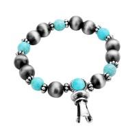 Vintage Inspired Boho Turquoise Stone Squash Blossom Stretch Bracelet