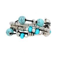 Vintage Inspired Boho Multi Strand Howlite Blue Metal Beads Leather Bracelet