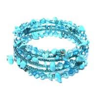 Turquoise Stone Wrap Wire Bracelet
