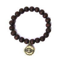 HANDCRAFTED GENUINE WOOD BEADS EVIL EYE STRETCHY BRACELET