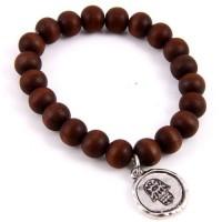 Handcrafted Genuine Wood Beads Hamsa Stretchy Bracelet