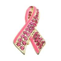 Glittering Rhinestone Pink Ribbon Brooch