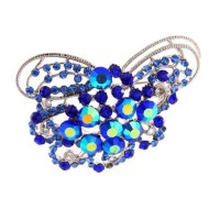 Sapphire Blue Crystal Bouquet Silver Brooch