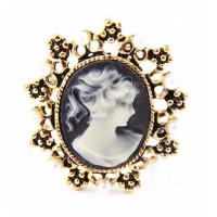 Rhinestone Victorian Cameo Pave Brooch