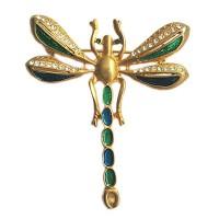 Stunning Green Dragonfly Rhinestone Pave Brooch