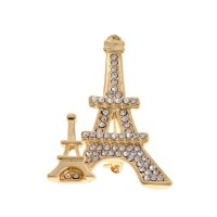 Dazzling Paris Eiffel Tower Rhinestone Pave Brooch