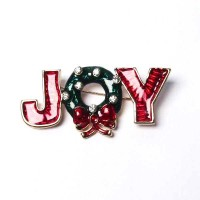 Holiday Red N Green Joy With Wreath Pave Brooch