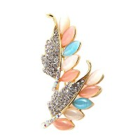 Multi Crystal Marquise Leaf Pin Brooch