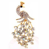 Rhinestone Gold Peacock Pave Brooch