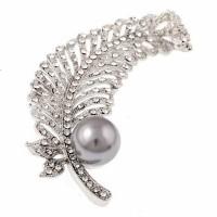Shimmering Silver Crystal Gray Pearl Leaf Brooch