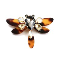 Stunning Tortoise Resin Dragon Fly Rhinestone Pave Brooch