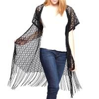 Black Weaved Kimono Cardigan With Fringes Vest