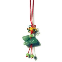 Apple Green Jade Cow Silk Cord Charm Pendant