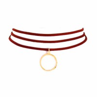 Gorgeous Burgundy Ring Drop Choker Necklace