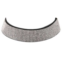 DIVA SPARKLING CLEAR RHINESTONE CHOKER NECKLACE