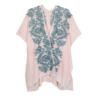 Pink Floral Embroidery Tunic Cover-Up
