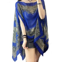 Gorgeous Blue Paisley Pearly Floral Cover-Up and Tunic