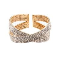 Sparkling Rhinestone Crystal Bling Gold Cuff Bracelet