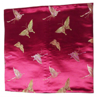 Burgundy Chinese Silk Brocade With Butterflies Cushion Cover
