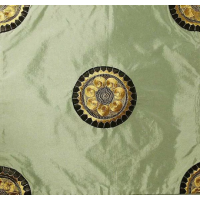 Jade Green Chinese Silk Corner Appliqués Cushion Cover