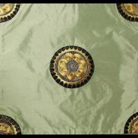 Jade Green Chinese Silk Corner Appliqués Cushion Cover