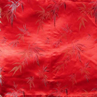 Red Chinese Silk Brocade With Classic Bamboo Leaves Cushion Cover